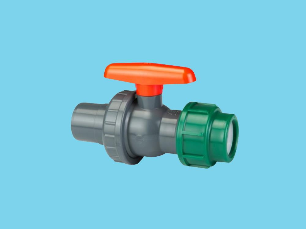 Ball valve Ø32/25mm pvc x Ø20mm pe 10bar