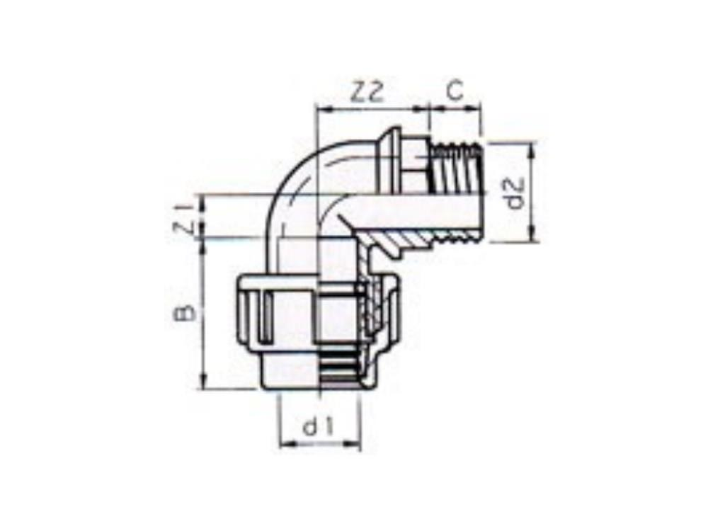 Elbow transition Ø20mm x 3/4