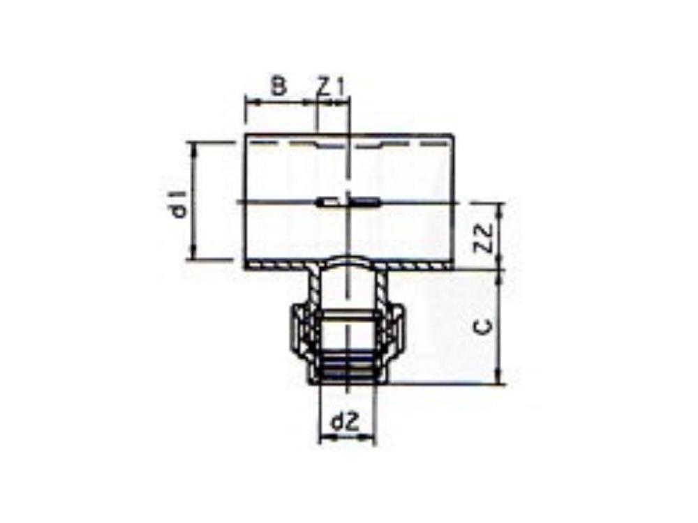 Tee Ø50 x pe 25 x 50 mm recht 2 x solvent cement pvc