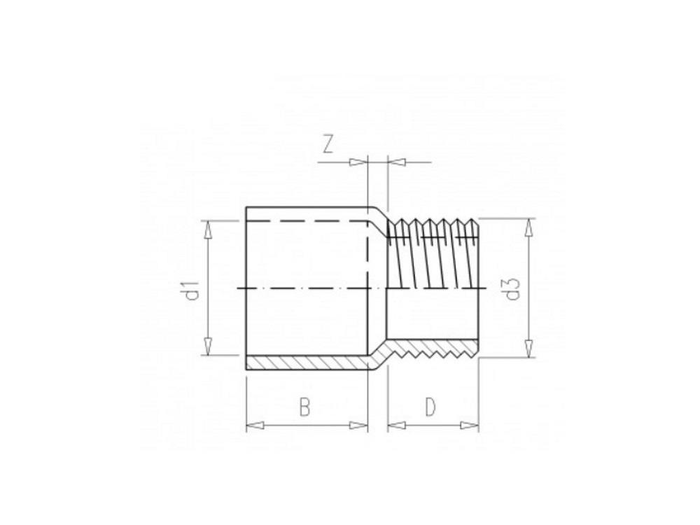 Adaptor nipple Ø90 x 2 1/2