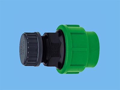 Hose end set with cap 16 mm PE
