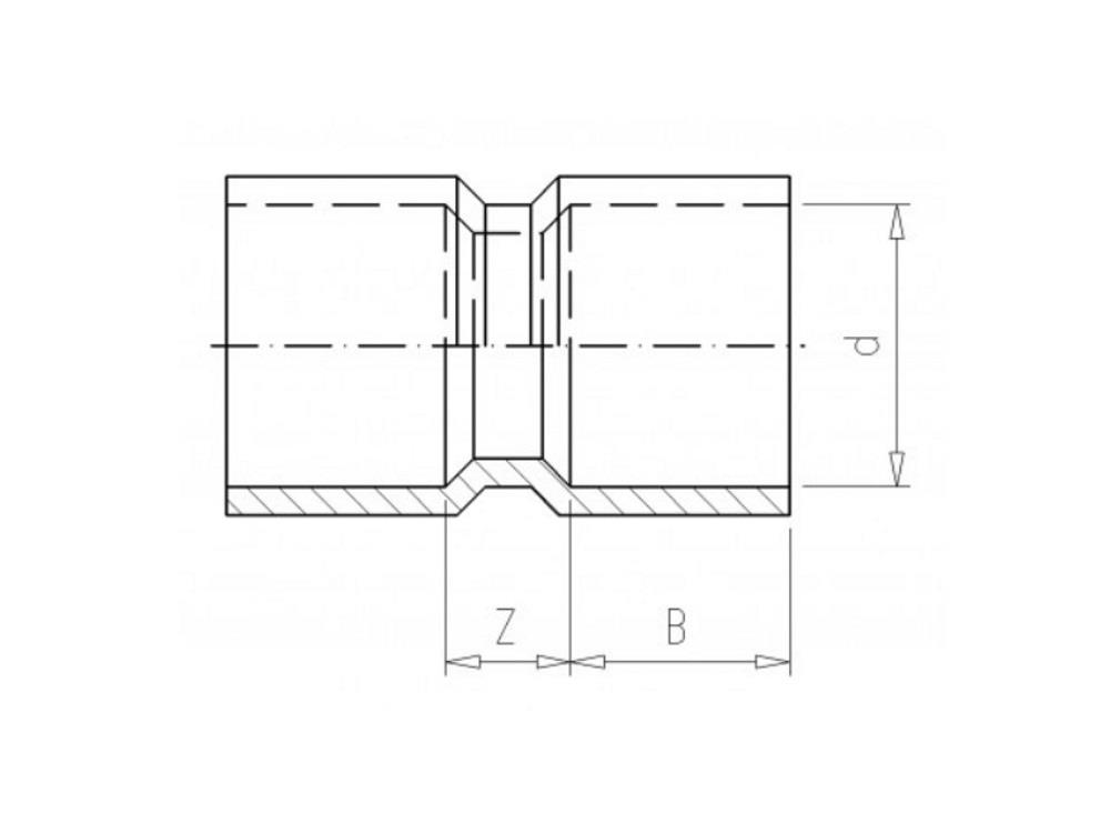 socket Ø250 x 250 mm 10bar pvc