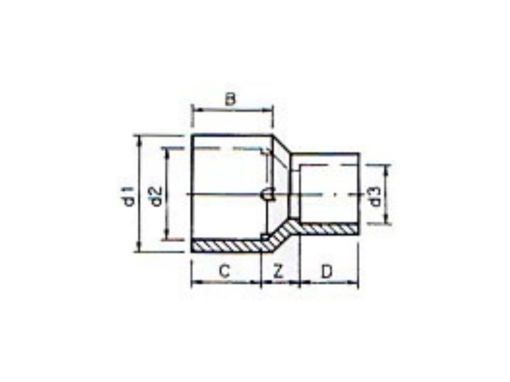 Reducing socket (insert) Ø63/50 x 50 mm 16bar pvc