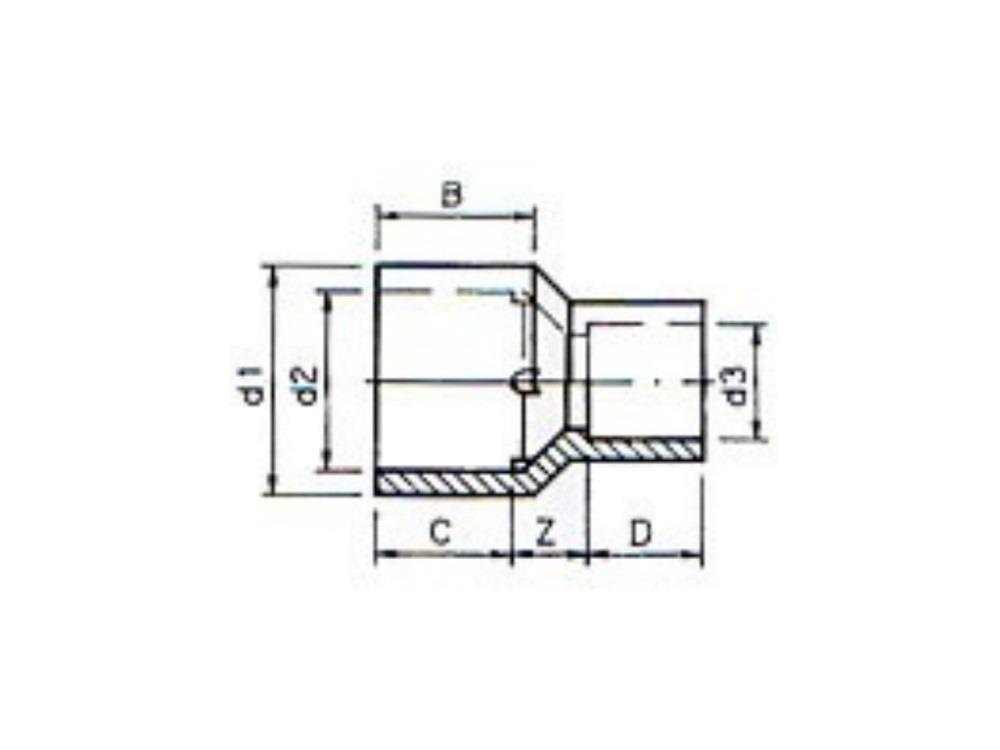 Reducing socket (insert) Ø125/110 x 75 mm 16bar pvc