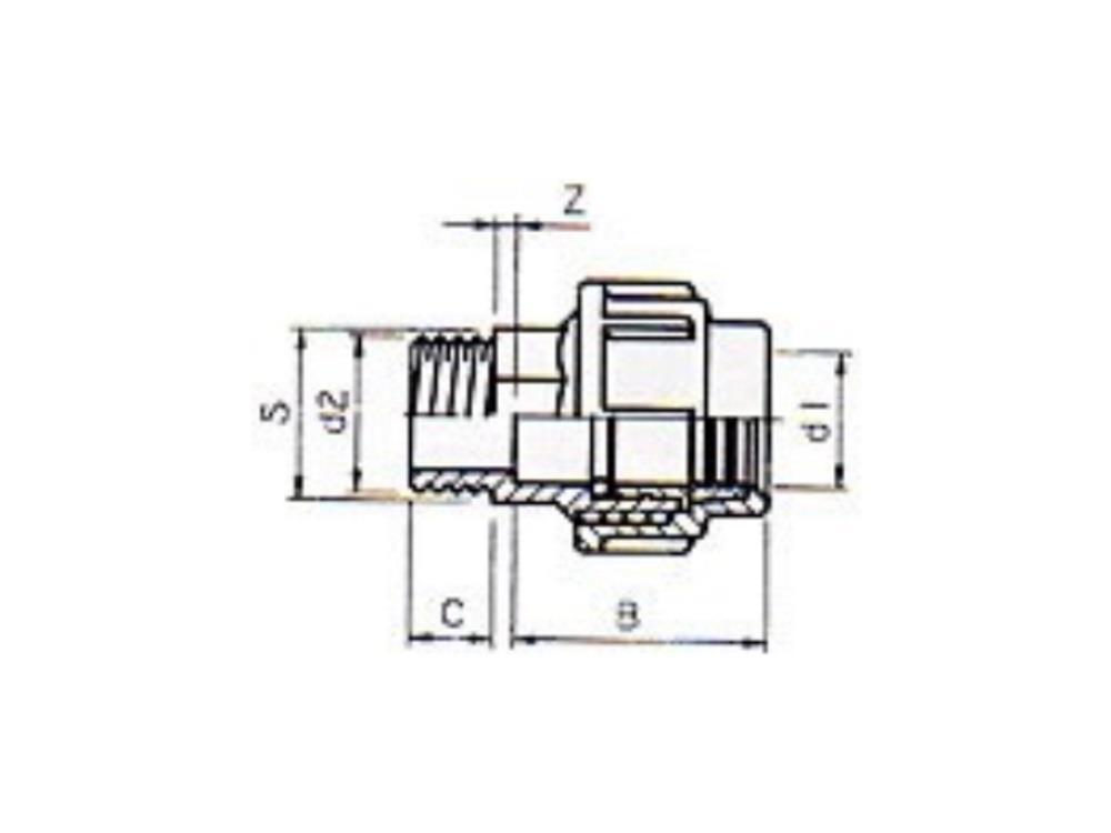 Pe coupling 40mm x 11/4