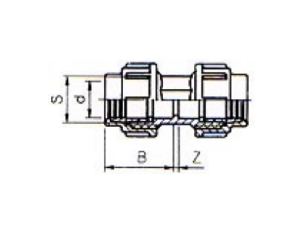 Pe coupling 16x16 pvc compress