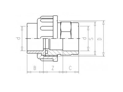 Adaptor union 3/3 Ø90 x 114mm 10bar pvc