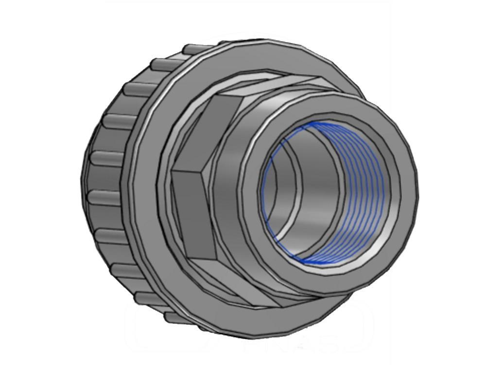 """Adaptor union 3/3  Ø20 mm x 1/2""""  female 16bar pvc"""
