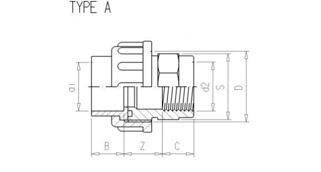 Adaptor union 3/3 Ø63 x 2