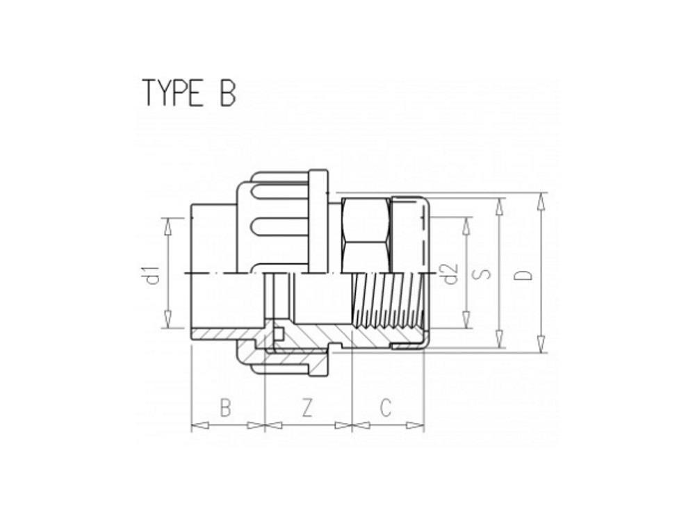 Adaptor union 3/3 Ø75 x 2 1/2