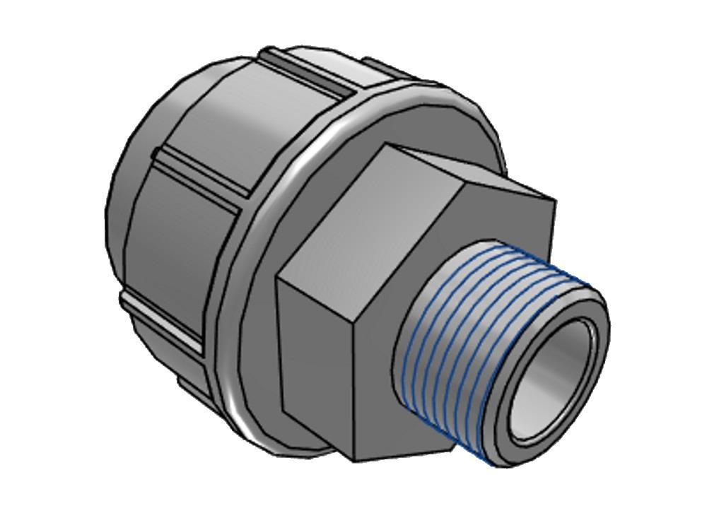 PE adaptor union 16x 1/2