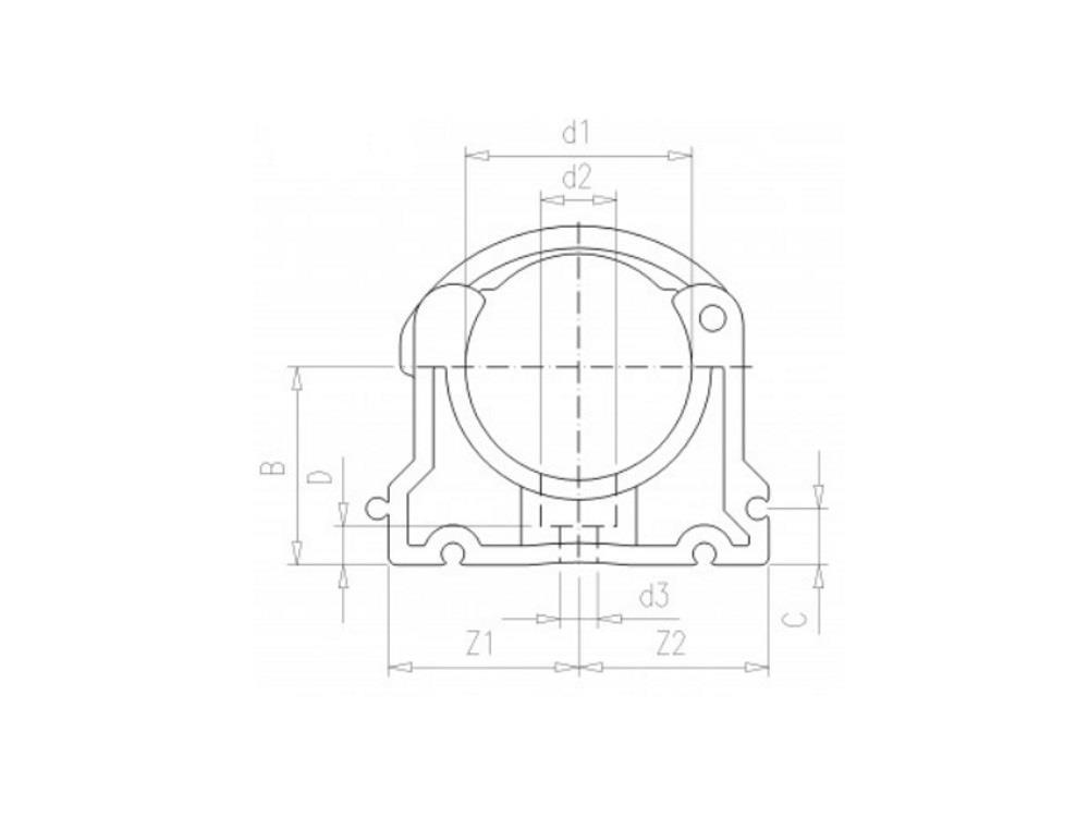Tube clip Ø40mm pvc