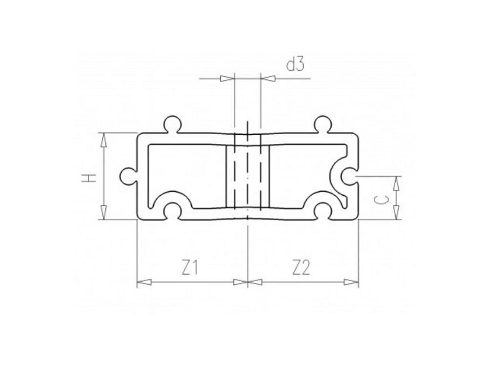 Filling block H20mm for tube clip Ø50