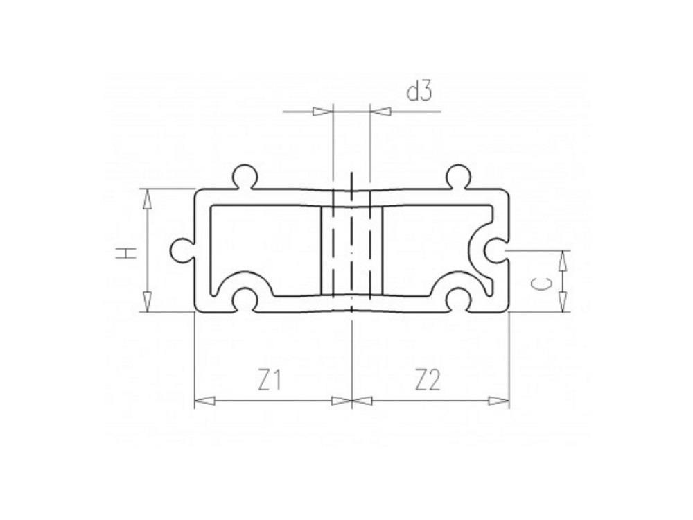 Filling block H20mm white tbv tube clip 40 pvc