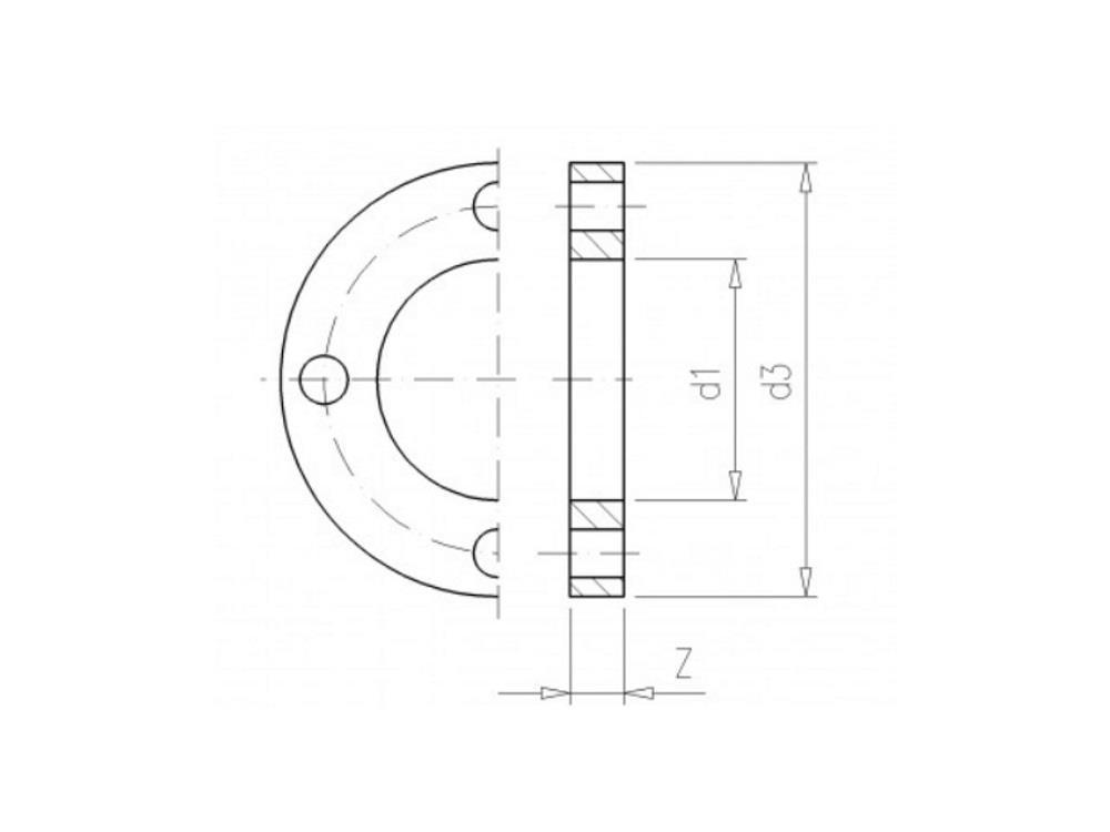 Backing flange 125 pvc PCD 190, thickness 26mm, 4x 16mm pvc