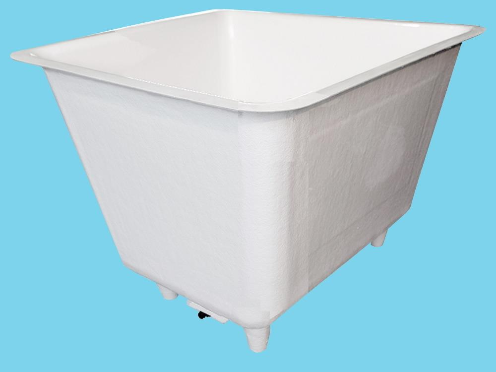 Polyester container 3300L square 209x209x103cm on legs+sink