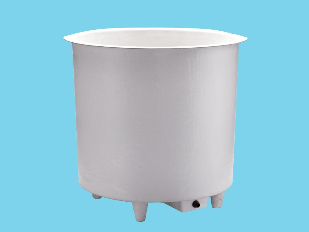 Polyester container 400L round Ø106x60cm heigh on legs+sink