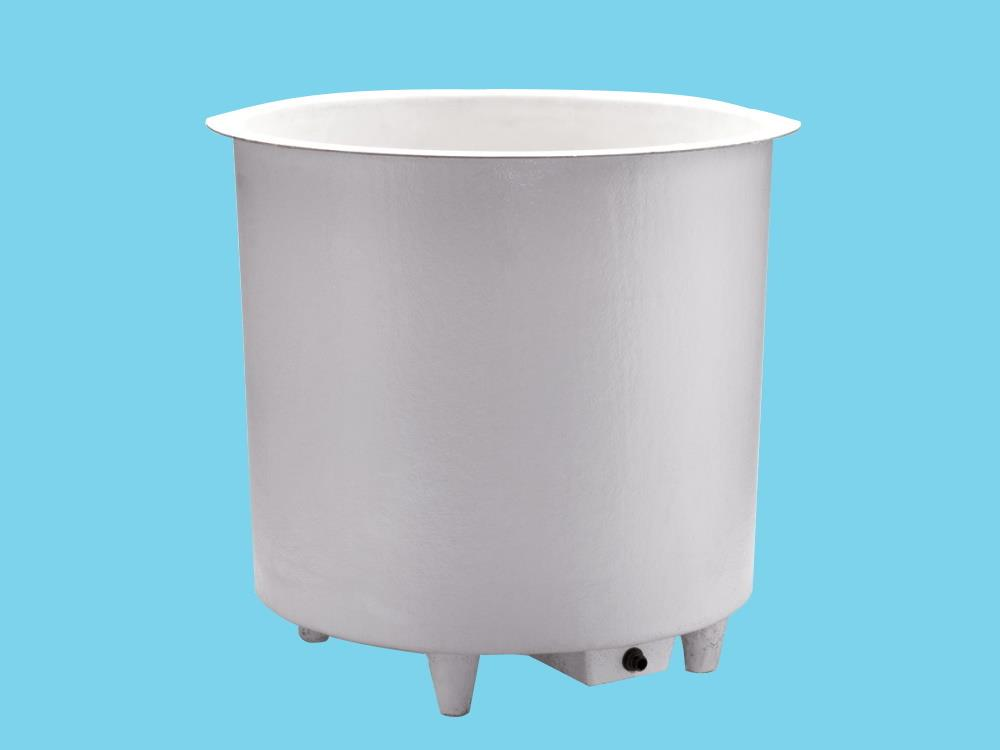 Polyester container 1500L round Ø160x92cm heigh on legs+sink