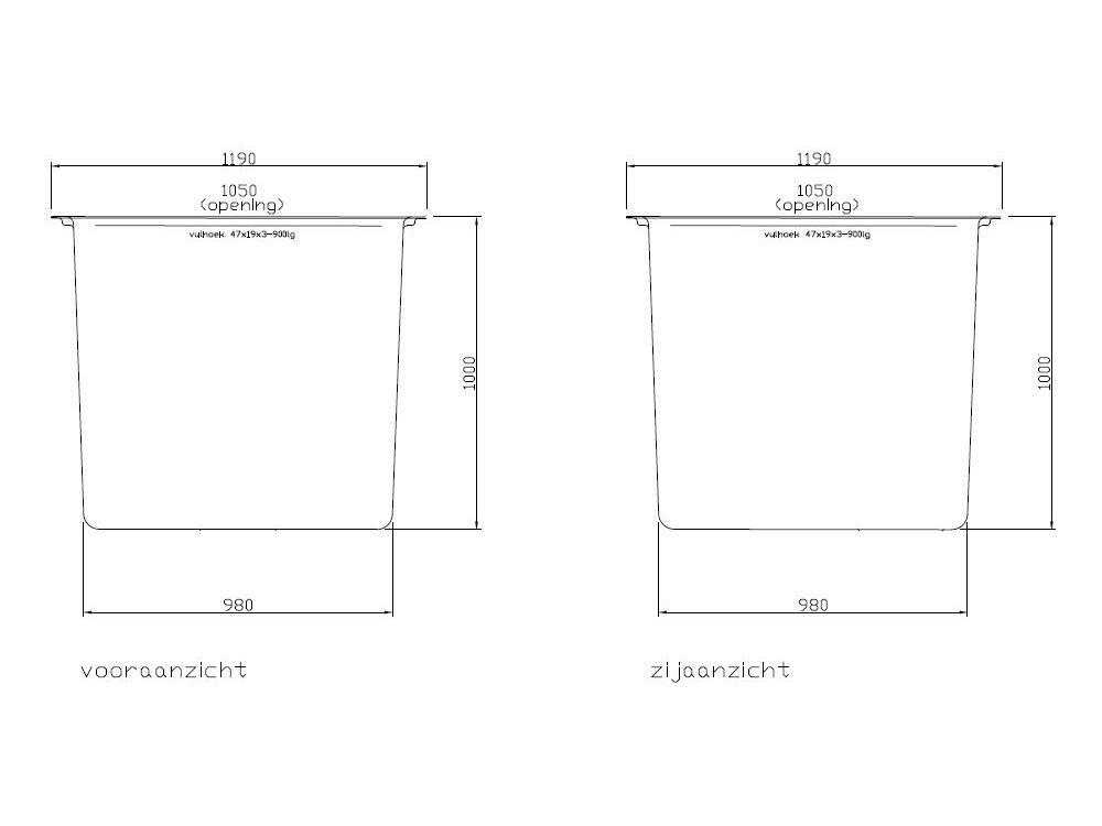 Square tank polyester 120x120x100cm 100l