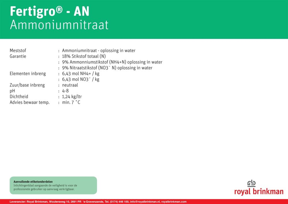 Ammonium Nitrate IBC 968 l/1200kg