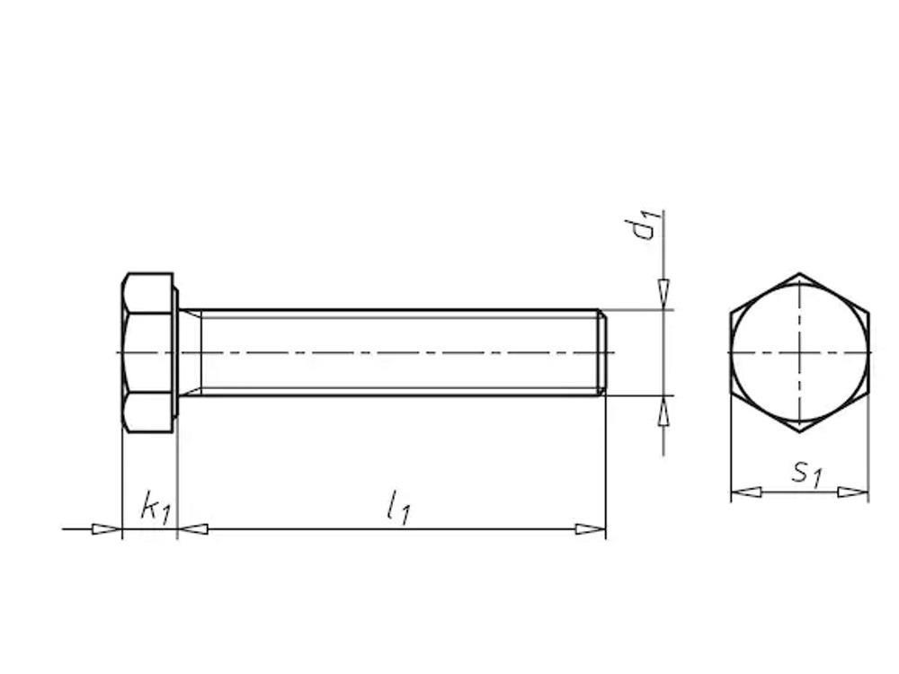 Six sided bolt m16x180mm