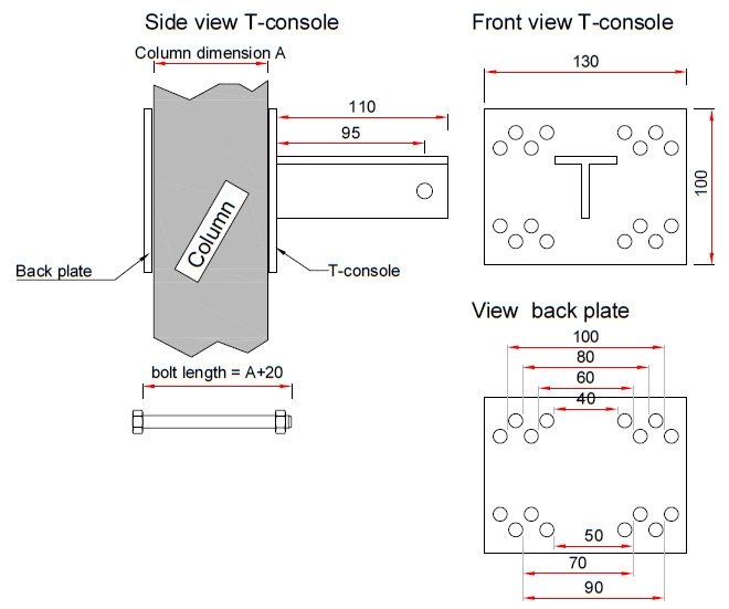 Complete set T-console for post 60 mm