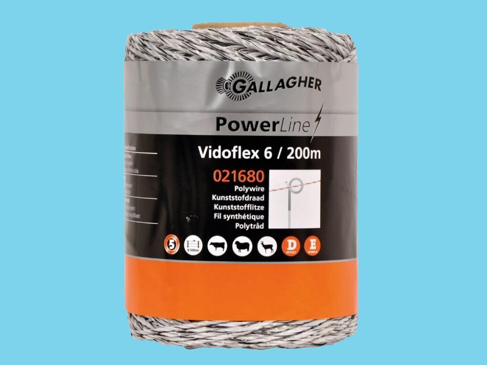 Wire electric fence Vidoflex 6 white 200m