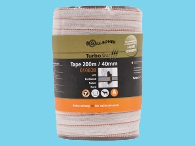 Tape electric fence white 40mm 200m Turbostar