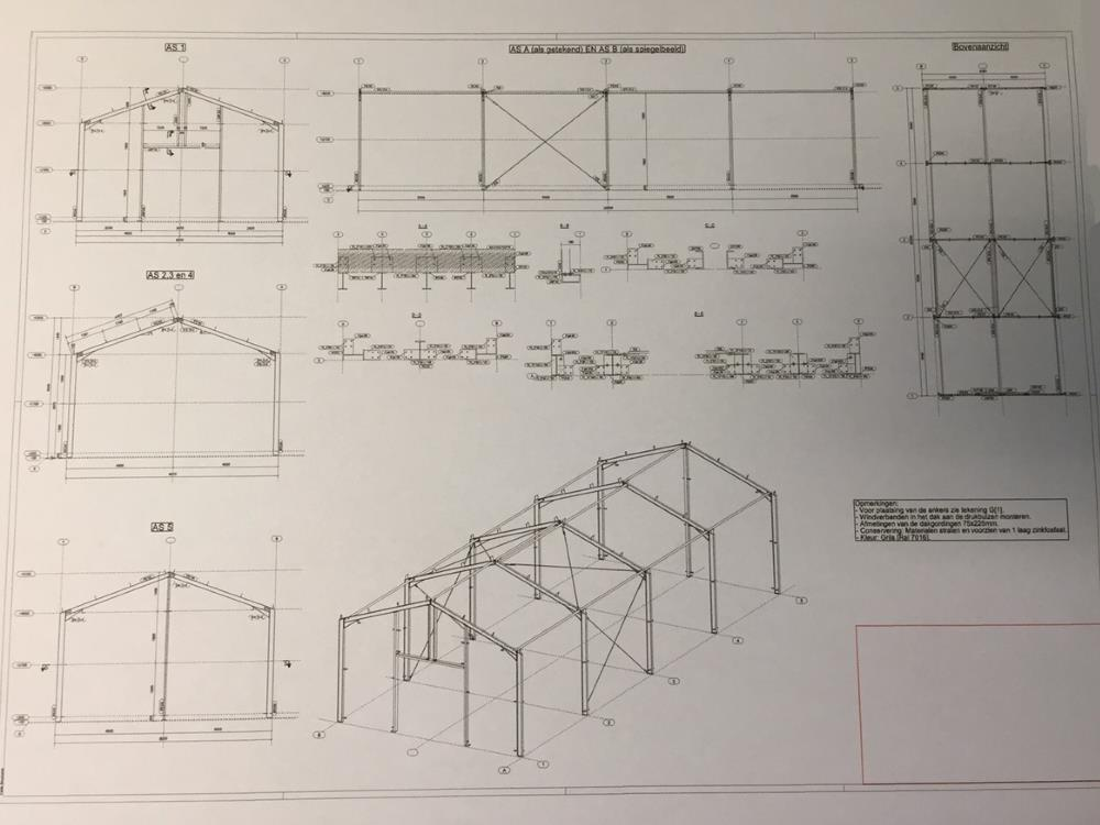 Construction industrial hall steel 8,0m x 20m HO Berg new
