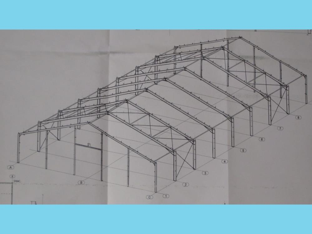 Construction industrial hall steel 20,0m x 41m HO Berg new