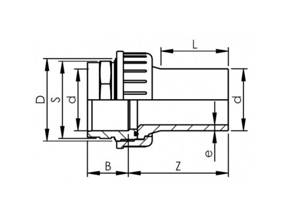 Adaptor union pvc-pe 63mm - sdr11