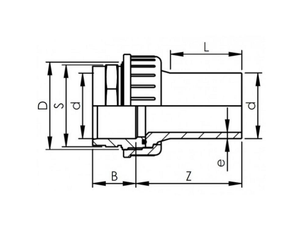 Adaptor union pvc-pe 90mm - sdr11