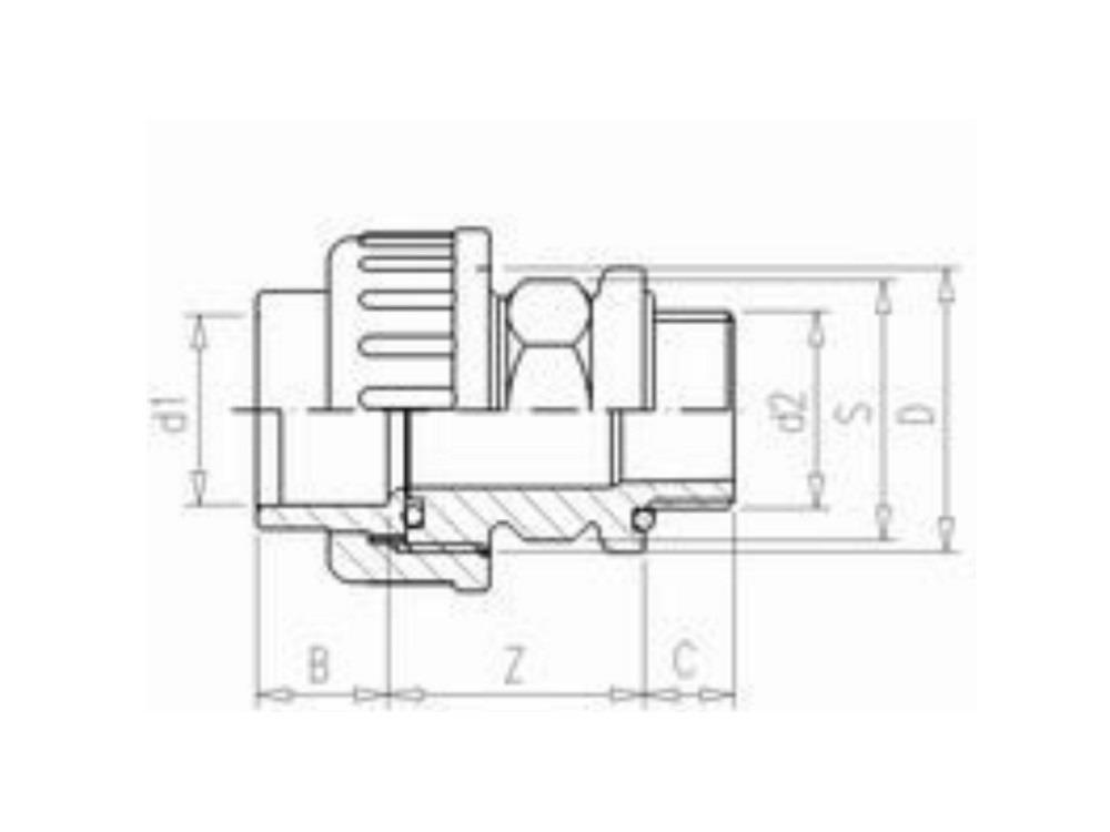 Adaptor union 25mm x 3/4