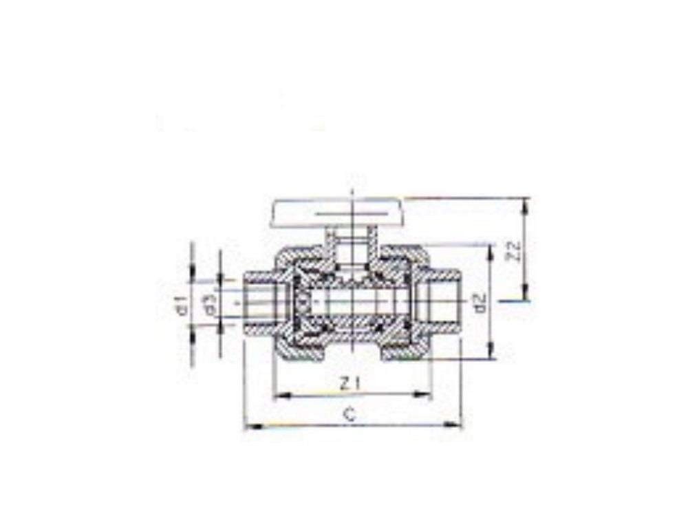 Labarotory ball valve double female s.w. (dil) 16mm dn 10