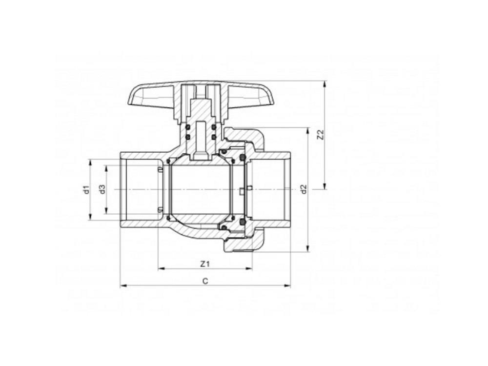 Pvc ball valve type: eil 25x25mm viton ® dn20