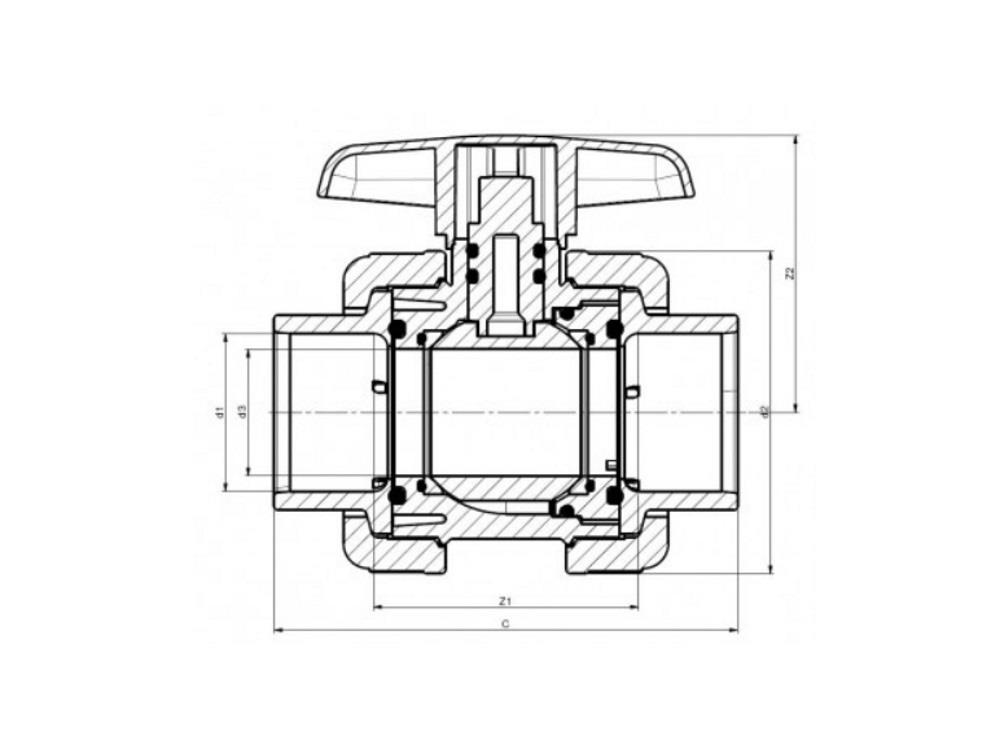 Pvc ball valve type : dil 50x50mm viton® dn40