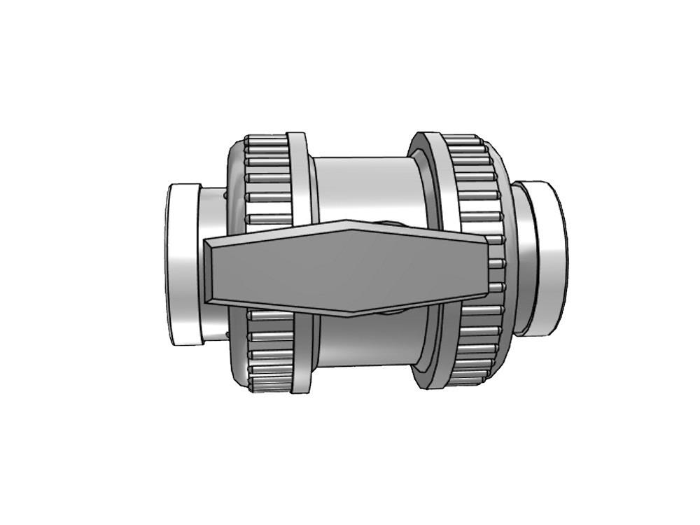 Pvc ball valve type : dil 50x50mm viton® dn40