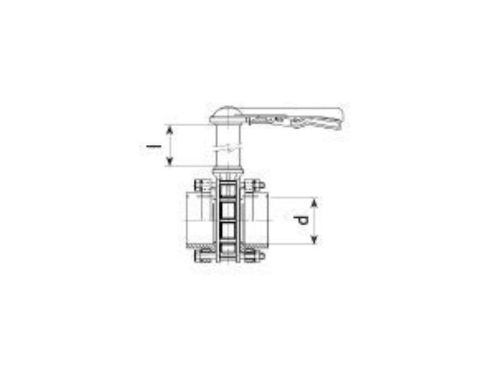 Butterfly valve dn65 + kit 75 x 75 + 1000mm