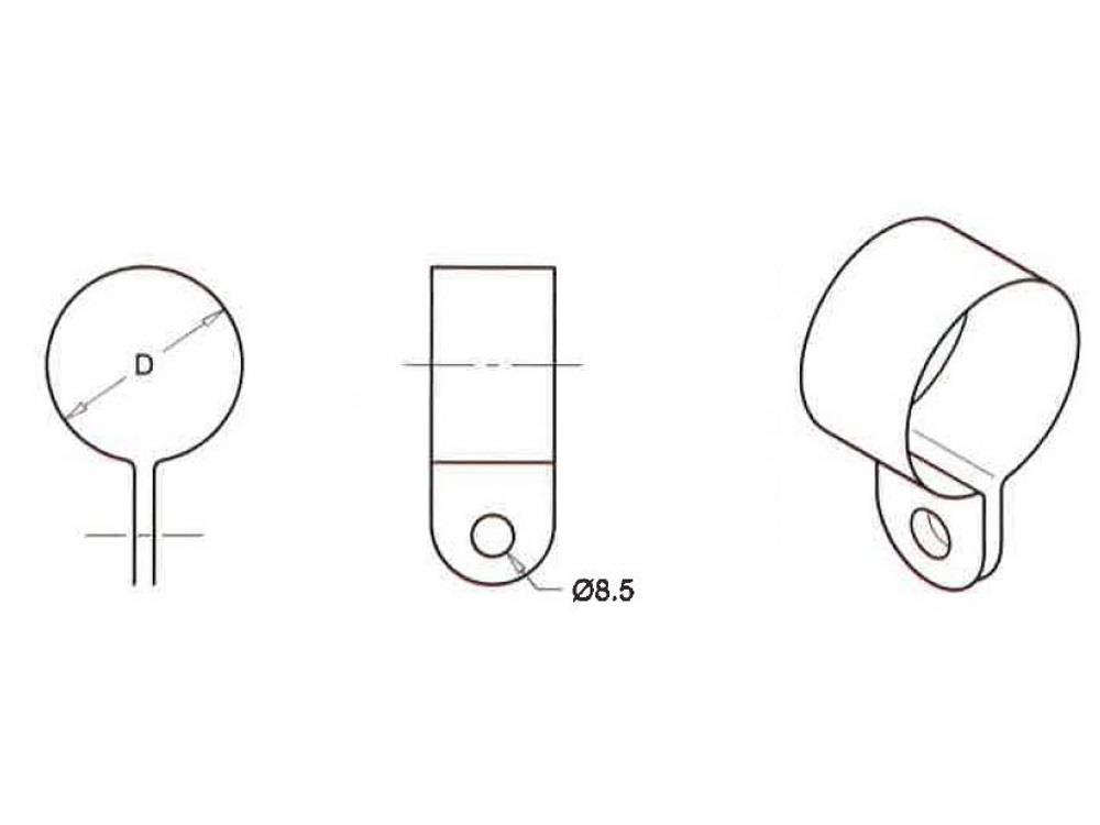 Tube-clips 33 mm (1