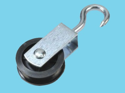Galv. pulley with swivel hook / dia. sheave 50mm, 10 pcs
