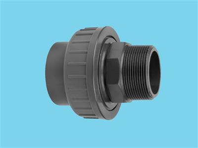 "Adaptor union 3/3 Ø25 x 3/4"" male 16bar pvc"