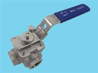 "stainless steel 3-way ball valve 3/4"" T bore"
