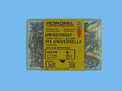 uni screws 3,0x25 200
