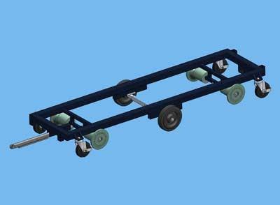 transport trolley 242x47cm middle wheel, flange roll, 4 swiv